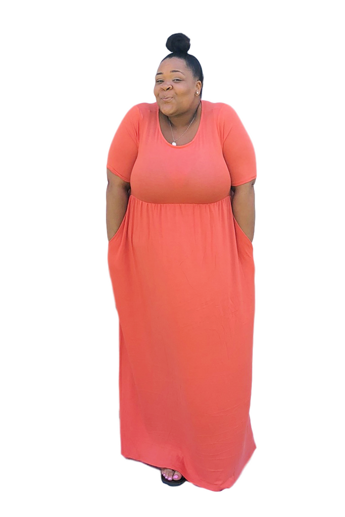 e6b0b88d3d5 Plus Size Coral Orange Maxi Dresses with Sleeves and Pockets for Spring and  Summer