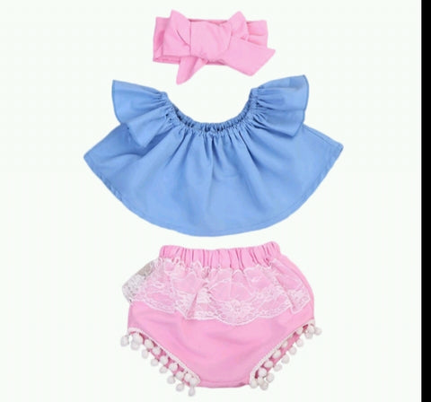 Pink/blue 3pc summer set