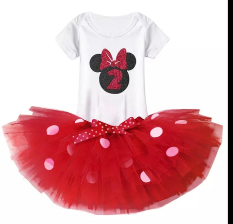 Minnie Mouse Second Birthday 3pc Tutu Set