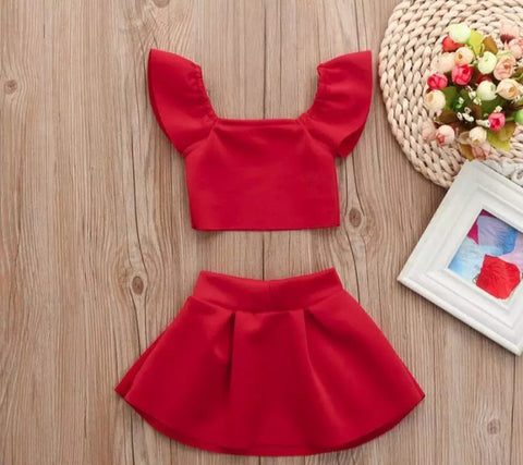 Red 2pc skirt set