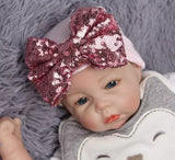 Newborn sequin bow hats
