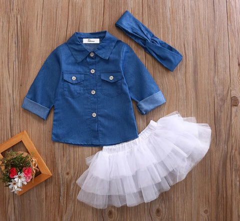 Denim shirt with White Tutu