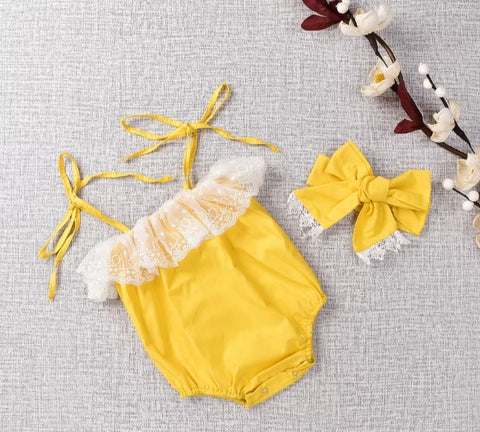 Yellow Romper with Lace