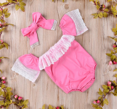 Pink Off the Shoulder Romper with Matching Headband