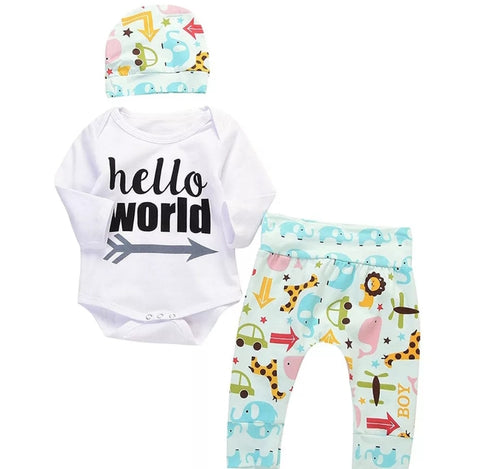 Hello World Print Arrow Animal  3pcs set