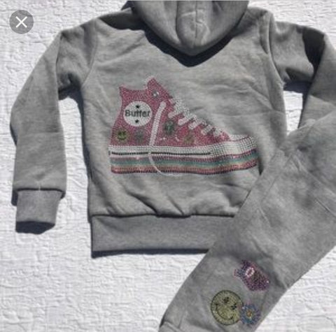 Girls Super Soft by Butter 2pc Bling Sneaker Jogging Set