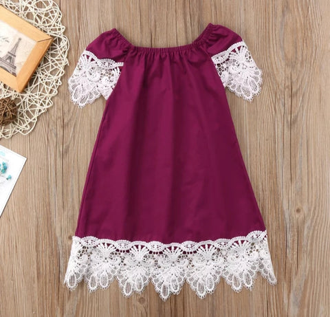 Burgundy Dress with Lace Trim