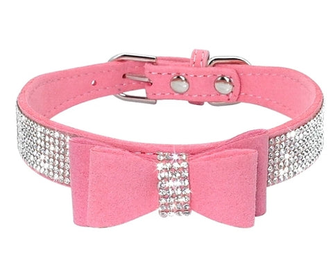 Pet Rhinestone Bow Collars
