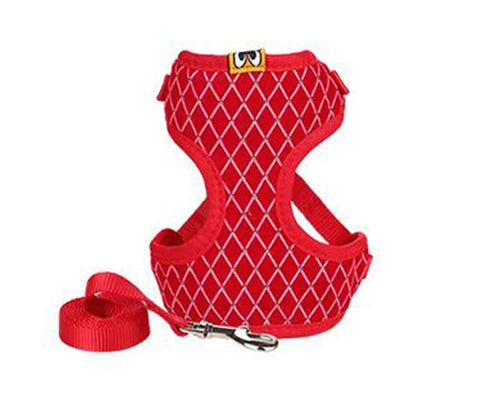 Pet Mesh Rhinestone Harness Leash Set