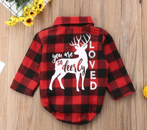 You Are So Deerly Loved Plaid Romper