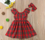 Celeste Plaid Dress with Headband