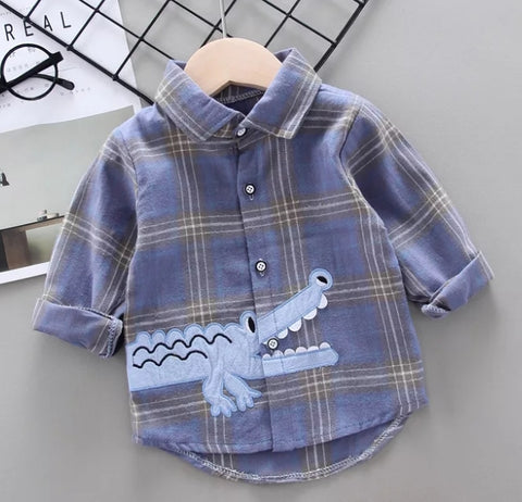 Boy Alligator Plaid  Shirts