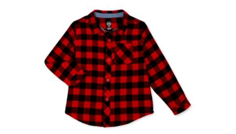 Boy Plaid Flannel Button Up Shirt