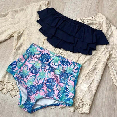 New Off the Shoulder Swimwear Double Ruffle Bathing Suits