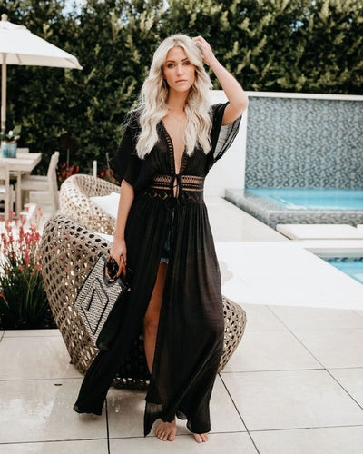 Lace Hollow Out Long Maxi Dress New Beach Wear