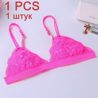 DeRuiLaDy 2PCS Sexy Floral Lace Bra Thin Wireless Bralette Comfortable Adjuted Underwear Women Lace Bra Brassiere Sexy Lingerie - Shopperstrail