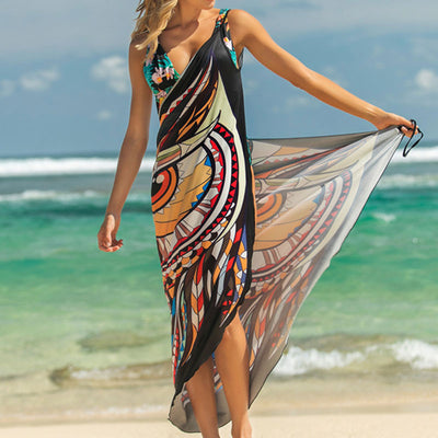 Printed Animal Print Wrap Slip Tunics Sarong