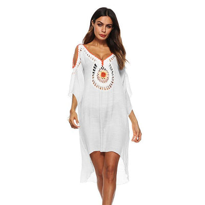 Boho Orange Dresses White Pareo Beachwear