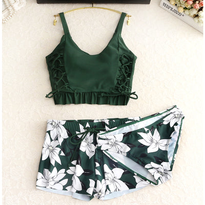Vintage Floral Print Green Padded Tankini