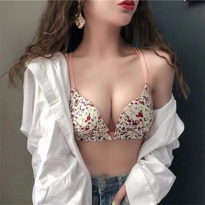 2019 Thin Women Bra Sexy Bralette Lingerie Bra Black Pink Underwear Push Up Seamless Women Bra Straps Wire Free Drop Ship - Shopperstrail