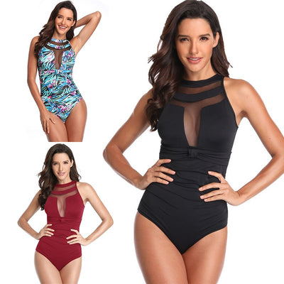 Sexy One Piece Swimsuit Women Swimwear Push Up Monokini Mesh Bathing Suit Women Beachwear Swim Wear Beach Female Summer Girls - Shopperstrail