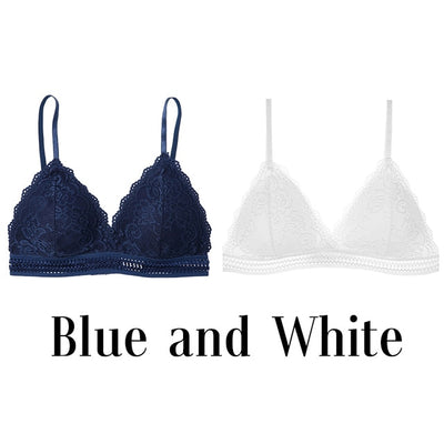 1/2PCS French Style Bralette Seamless Deep V Lace Bra Wireless Thin Underwear Sexy Lingerie Soft Bras For Women Hot - Shopperstrail