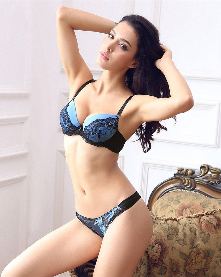 Sexy Push Up Large Size 34-42 B C Cup Women Lace Bra Sets Blue lingerie set Floral Underwear Intimates For women Free shipping - Shopperstrail