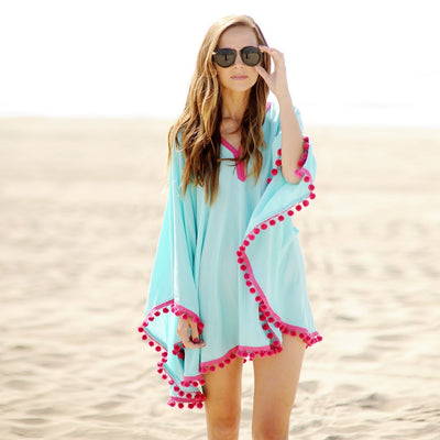 Sexy Cotton Bathing Suit Cover ups Summer Beach Dress Tassel Trim Bikini Swimsuit Cover up Beach wear Pareo Sarong - Shopperstrail