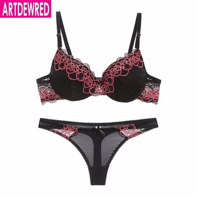 high-end brand New Arrival lace bra set push up underwear set women panties thin thick cup hollow lace intimates bras lingerie - Shopperstrail