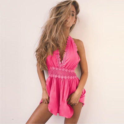 Sexy Cover Up Swimsuit Women Bikini Cover Up Women Rompers Jumpsuit Short Summer Halter Female Backless Hollow Out Beach Wear - Shopperstrail