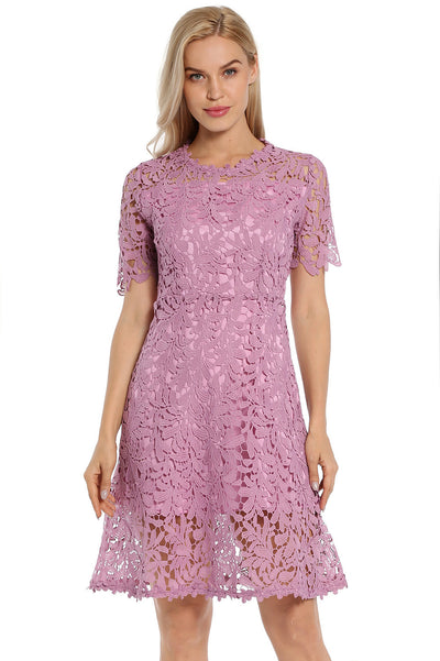 Avoir Aime Floral Lace Dress Overlay Double Layer Short Sleeve Collect Waist A-Line Knee Length Dress - Shopperstrail