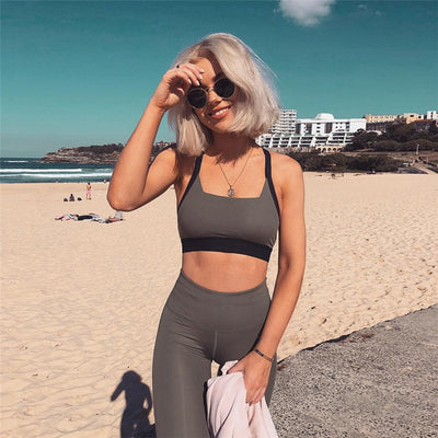 Women Workout Clothes Sexy Crop Tank Top with Slim Stretch Long Pants Beach Yoga Sports Wear Gym Running Jumpsuit 2 Piece Set 40 - Shopperstrail