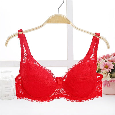 Fashion Women Sexy Lace Bra Deep V Push Up Brassiere Shaping Padded Bras Underwear Embroidery Lingerie plus size bra A B C D Cup - Shopperstrail