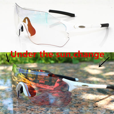 Photochromic Sunglasses Auto Lens TR90 Sports Cycling Discoloration Glasses Men Women MTB Road Bike Bicycle Eyewear - Shopperstrail