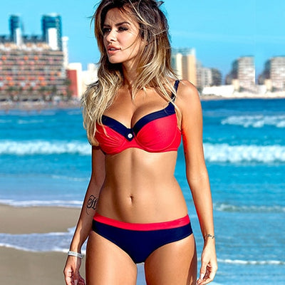 bikini swimwear women 2018 sexy bikini set push up swimsuit female two piece swimsuit women halter yellow bikini girl beach wear - Shopperstrail
