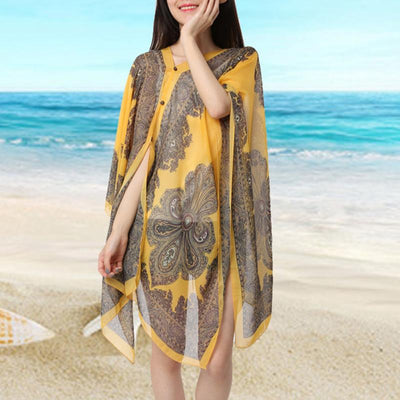 Summer Woman Sexy Bathing Suit Beach Dress Print Bikini Swimsuit Cover up Beach wear Pareo Sarong - Shopperstrail