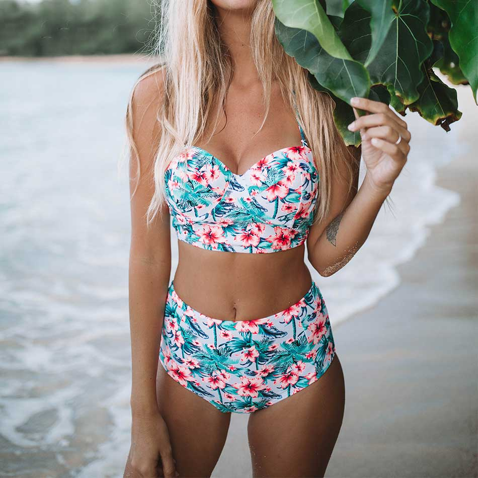 2018 Floral Print High Waist Bikinis Women Swimsuit Plus Size Swimwear Bathing Suits Retro Floral Push Up Bikini Set Beach Wear - Shopperstrail