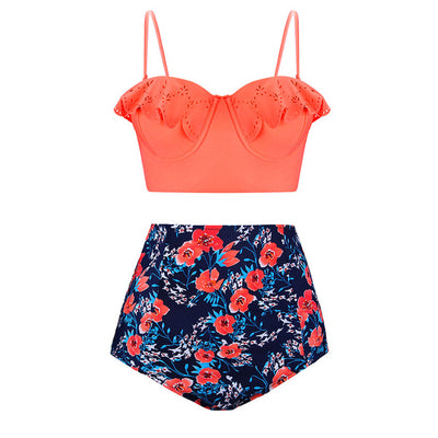 TQSKK 2019 New Bikinis Women Swimsuit High Waist Bathing Suit Plus Size Swimwear Push Up Bikini Set Vintage Retro Beach Wear XXL - Shopperstrail