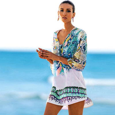 Bathing Suit Cover Ups Kaftan Beach  Beach Tunic Beach Cover Up Print Snake Robe De Plage Cover Up Beach Dress Swimwear - Shopperstrail