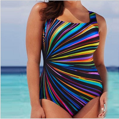 New Plus Size 5XL Women Colorful Beachwear Swimsuit One Pieces Women Sexy Backless Bathing Suit Women Summer Beach Wear - Shopperstrail