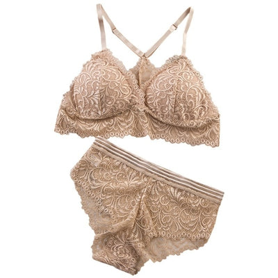 Sexy Lace Bra Sets Women Seamless Embroidery Bralette Wireless Breathable Underwear Lingerie Set - Shopperstrail