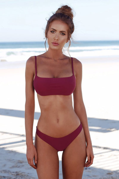 COSPOT Bikini 2019 Solid Swimwear Women Sexy Bandeau Swimsuit Brazilian Biquini Female Beach Wear Bathing Suits Swimming Suit - Shopperstrail