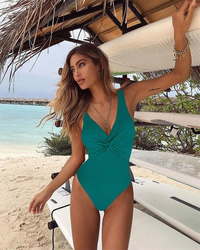 2019 Vintage One Piece Swimsuit Women Swimwear Push Up Bathing Suit Back Cross Bandage Monokini Beach Wear Retro Solid Swim Suit - Shopperstrail