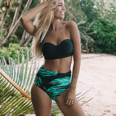 2019 Sexy High Waist Bikinis Women Swimsuit Plus Size Swimwear Bathing Suits Retro Floral Push Up Bikini Set Beach Wear Biquini - Shopperstrail
