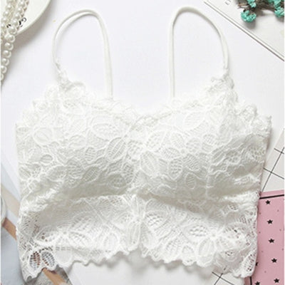 Sexy Floral Lace BH Bras for Women Full Cup Embroidery Solid Colour Padded Push-up Bra Female Bralette Lingerie Woman Intimates - Shopperstrail