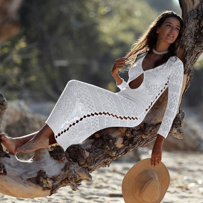 2019 Crochet White Knitted Beach Cover up dress Tunic Long Pareos Bikinis Cover ups Swim Cover up Robe Plage Beachwear - Shopperstrail