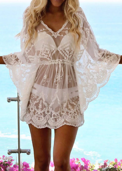 Lace Hollow Solid Beach Bikini Cover Up Tunic