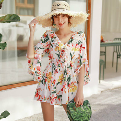 2019 Korean Style Swimwear 3 Piece Swimsuit Bikini Cover Up Floral Beach Dress Ruffle Sweat Bathing Suit Women High Waist Bikini - Shopperstrail