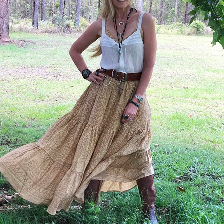 Casual Long Hippie Tassel Summer Skirt