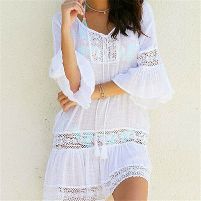Bikini Cover Up Lace Tassel Hollow Crochet Swimsuit Beach Dress Women 2019 Summer Ladies Cover-Ups Bathing Suit Beach Wear Tunic - Shopperstrail